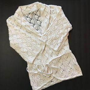 J Jill Boho Crochet Cardigan Off White